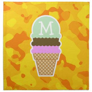 Amber Yellow Camo; Ice Cream Cone Cloth Napkin
