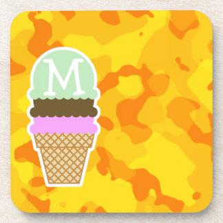 Amber Yellow Camo; Ice Cream Cone Beverage Coaster