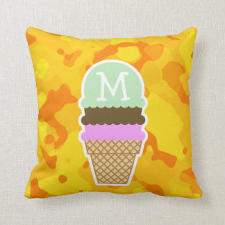 Amber Yellow Camo; Ice Cream Cone Pillow