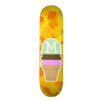 Amber Yellow Camo; Ice Cream Cone Custom Skate Board