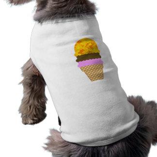 Amber Yellow Camo; Ice Cream Cone Dog Shirt