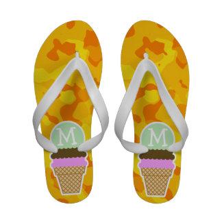Amber Yellow Camo; Ice Cream Cone Sandals
