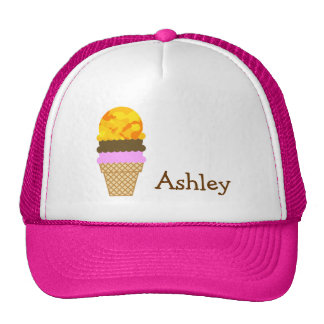 Amber Yellow Camo; Ice Cream Cone Trucker Hats