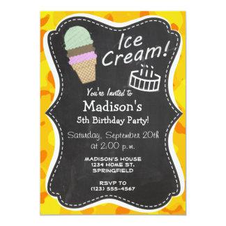 Amber Yellow Camo; Ice Cream Cone 5x7 Paper Invitation Card