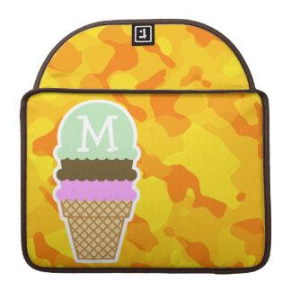 Amber Yellow Camo; Ice Cream Cone Sleeve For MacBook Pro