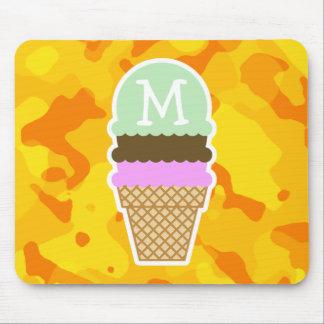 Amber Yellow Camo; Ice Cream Cone Mouse Pad