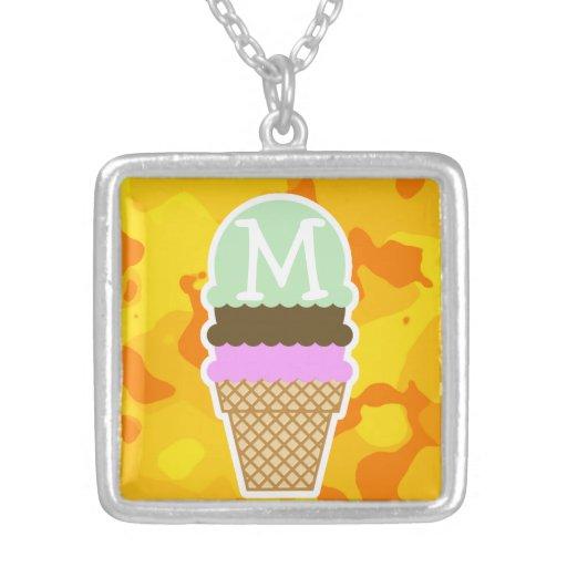 Amber Yellow Camo; Ice Cream Cone Jewelry