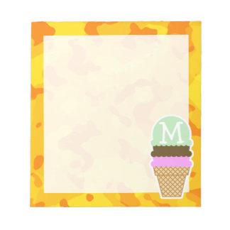 Amber Yellow Camo; Ice Cream Cone Memo Note Pads