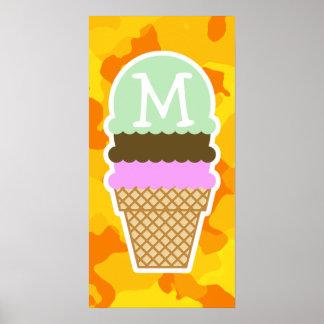 Amber Yellow Camo Ice Cream Cone Posters