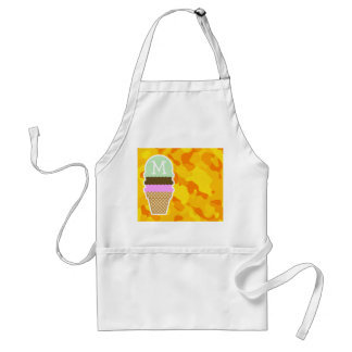 Amber Yellow Camo; Ice Cream Cone Standard Apron
