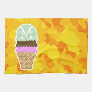 Amber Yellow Camo; Ice Cream Cone Kitchen Towel