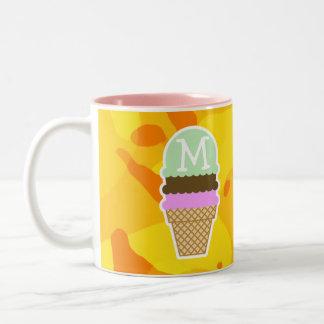 Amber Yellow Camo; Ice Cream Cone Two-Tone Mug