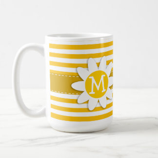 Amber Yellow Stripes; Daisy Basic White Mug