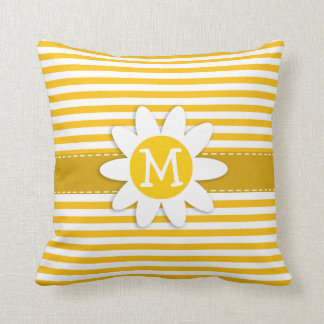 Amber Yellow Stripes; Daisy Cushion