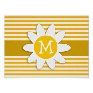 Amber Yellow Stripes; Daisy Posters