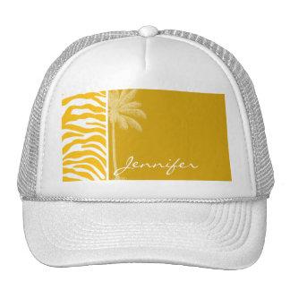 Amber Yellow Zebra Animal Print; Summer Palm Trucker Hat