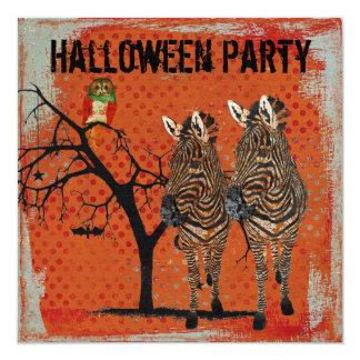 "Amber Zebras & Rose Owl Halloween Invitation 5.25"" Square Invitation Card"