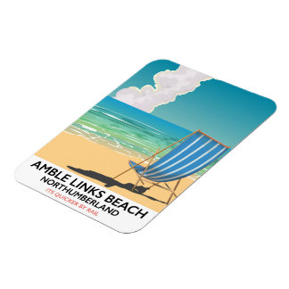 Amble Links Beach Northumberland Travel poster Rectangular Photo Magnet