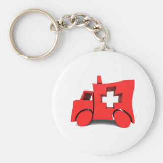 ambulance basic round button key ring