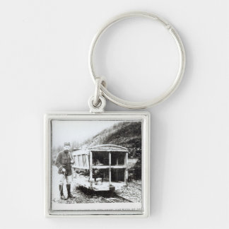 Ambulance Car on One of the Light Railways Silver-Colored Square Key Ring