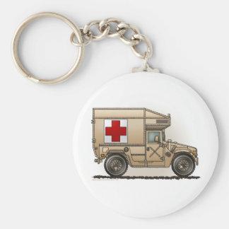 Ambulance Military Hummer Medic Basic Round Button Key Ring