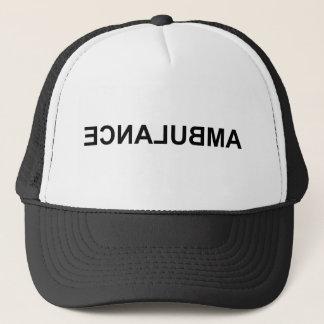 Ambulance mirror text trucker hat