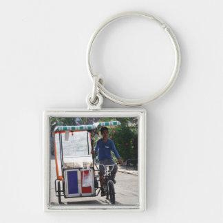 Ambulant bakery shop Silver-Colored square key ring