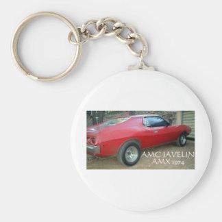 AMC JAVELIN AMX 1974 BASIC ROUND BUTTON KEY RING