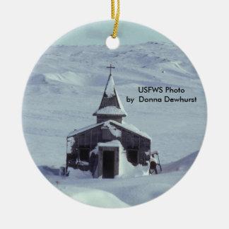Amchika Island WW II Church in Winter Round Ceramic Decoration