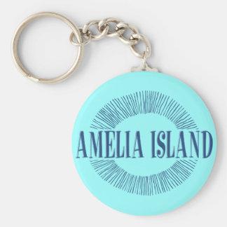 Amelia Island in blue with sun design Key Ring
