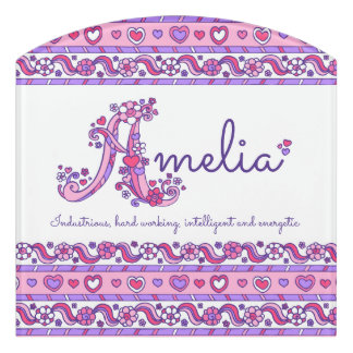 Amelia name pink girls personalized door sign