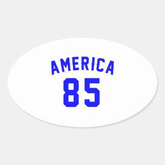 America 85 Birthday Designs Oval Sticker