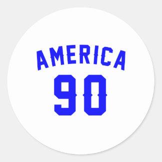 America 90, Birthday Designs Round Sticker
