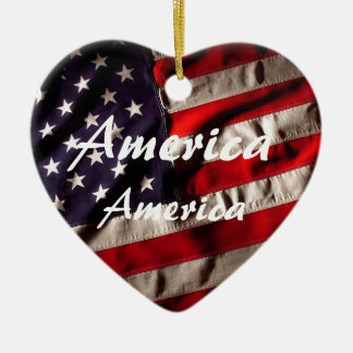 America, America God Shed His Grace on Thee Ceramic Heart Decoration