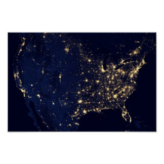 America at Night Poster