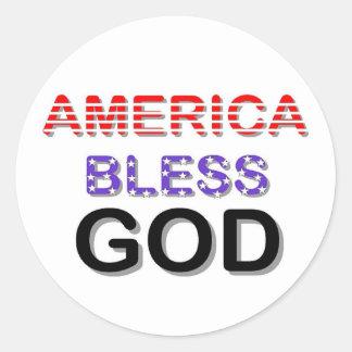 America Bless God Classic Round Sticker