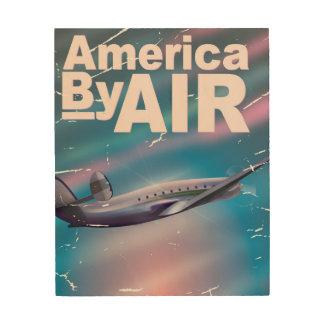 America By Air vintage travel poster Wood Prints