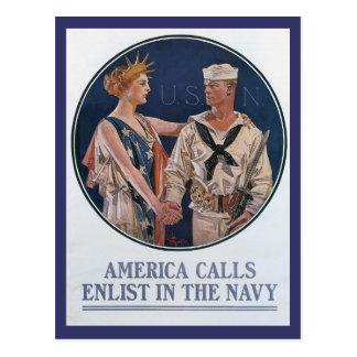 America Calls World War II Postcard