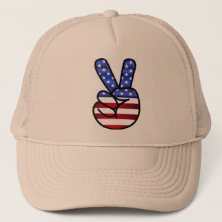 America cap signs V like victory