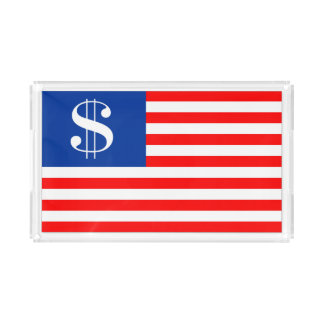 america country dollar symbol flag united states u acrylic tray