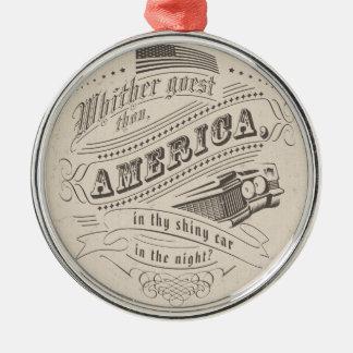 America drive Silver-Colored round decoration