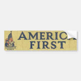 America First Patriots American Flag Vintage Text Bumper Sticker