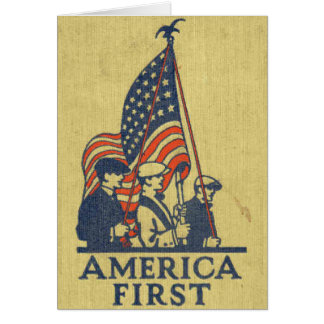 America First Patriots American Flag Vintage Text Card
