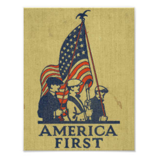 America First Patriots American Flag Vintage USA Poster