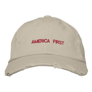 America First Quote Trump Typography Patriotic USA Embroidered Hat