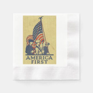 America First Typography Vintage US Flag American Disposable Serviettes