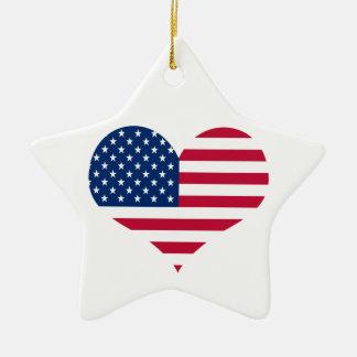America flag American USA heart Ceramic Ornament