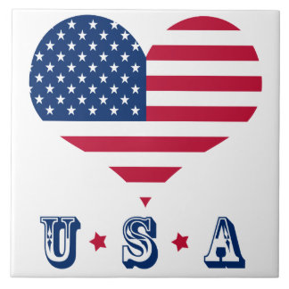 America flag American USA heart Ceramic Tile