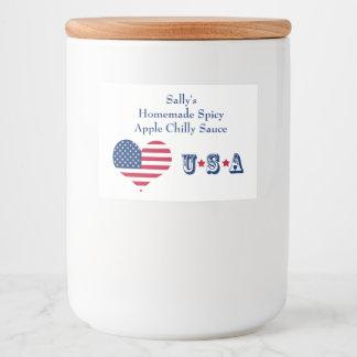 America flag American USA heart Food Label