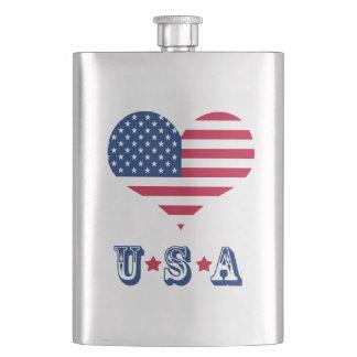 America flag American USA heart Hip Flask